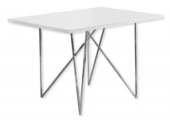 Monarch Specialties I 1038 Dining Table In White And Chrome