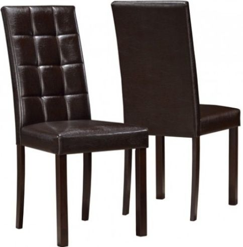 Monarch Specialties I 1171 Dining Chair With Solid Wood And PU, Padded  Seating, Tufted Chair, Dark Brown Finish, Faux Leather Upholstery, Wood, ...