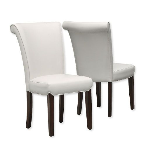 Monarch Specialties I 1666TP Set of Two Dining Chairs Upholstered in White Leather-Look and Taupe Finish; White and Taupe; UPC 021032263164 (MONARCH I1666TP I 1666TP I-1666TP)