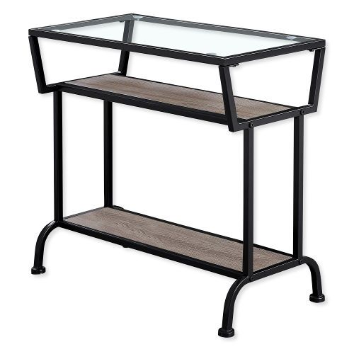 Monarch Specialties I 2067 Twenty-Two-Inch-Tall Accent Table in Dark Taupe and Black Metal Finish with Tempered Glass Top; Dark Taupe and Black; UPC 680796012519 (I 2067 I2067 I-2067)