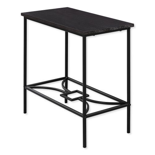 Monarch Specialties I 2076 Twenty-Two-Inch-Tall Accent Table in Cappuccino Top and Black Metal Finish; Cappuccino and Black; UPC 680796012540 (I 2076 I2076 I-2076)