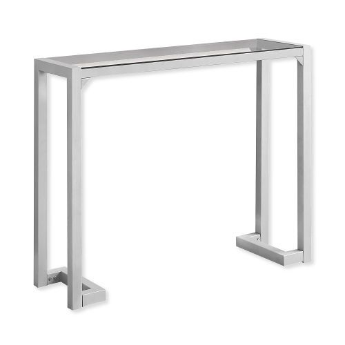 Monarch Specialties I 2107 Fourty-Two-Inch-Long Hall Console Accent Table in silver Metal Finish and Tempered Glass; UPC 680796000523 (I 2107 I2107 I-2107)