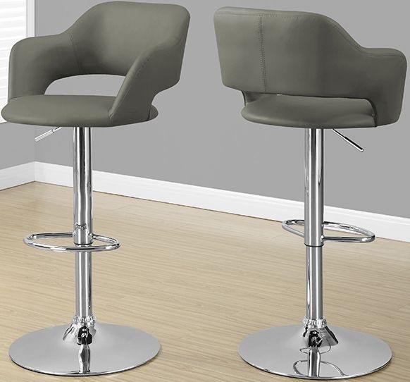 Monarch Specialties I 2364 Light Grey Hydraulic Lift Barstool; Cool  Contemporary Bar Chair; Plush Curved Stool Back And Seat For Added Comfort;  Sturdy, ...