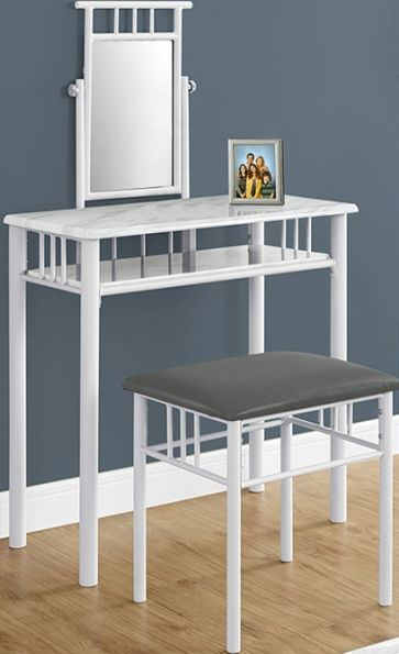 white metal vanity set. Monarch Specialties I 3082 Two Pieces White Marbel and Metal Vanity  Set Table Open storage shelf provides space to store cosmetics beauty