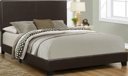 monarch specialty i 5910q bed queen size dark brown leather look