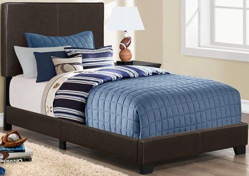 monarch specialty i 5910t bed twin size dark brown leather look