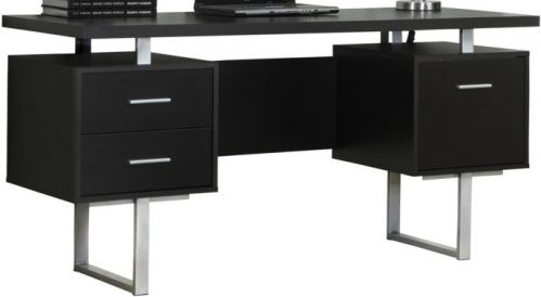 Monarch Specialties I 7080 Cappuccino Hollow Core Silver Metal Office Desk Crafted From Particle Board Melamine Large Floating Top
