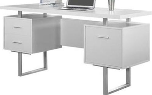 Monarch Specialties I 7081 White Hollow Core Silver Metal Office Desk Crafted From Particle Board Melamine Large Floating Top Work