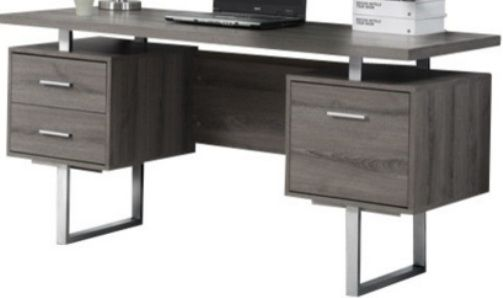 Monarch Specialties I 7082 Dark Taupe Hollow Core Silver Metal Office Desk Crafted From Particle Board Melamine Large Floating Top