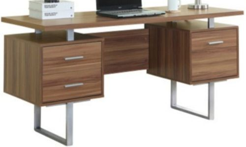 Monarch Specialties I 7083 Walnut Hollow Core Silver Metal Office Desk Crafted From Particle Board Melamine Large Floating Top Work