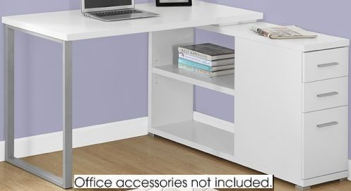 Monarch Specialty I 7133 Computer Desk White Left Or Right Facing Corner Desktop Offers A Spacious Work Surface To Meet Your Working Needs Without