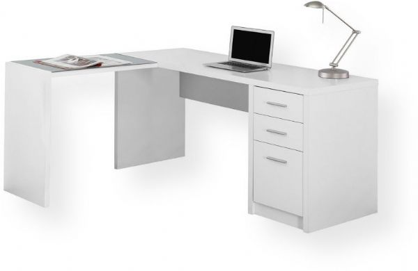 Monarch Specialties I 7136 White Corner With Tempered Glass Computer Desk Contemporary Style L Shaped In A Crisp Tone Finished On All Side