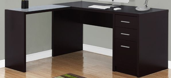 Monarch Specialties I 7137 Cappuccino Corner With Tempered