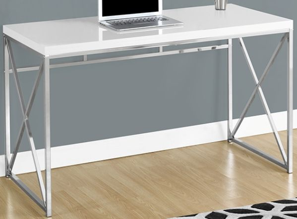 Monarch Specialties I 7205 Glossy White Chrome Metal Computer Desk Durable Scratch Resistant Laminate Surface Sleek And Modern Criss Cross Legs