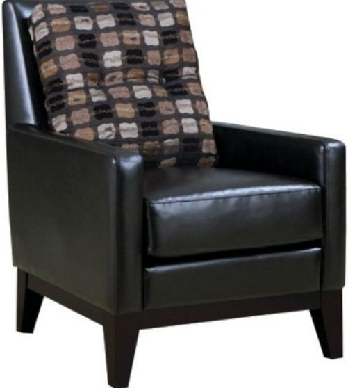 monarch specialties i dark brown leatherette chair with
