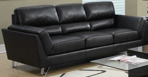 Monarch Specialties I 8203BK Black Leather Sofa with Chrome ...