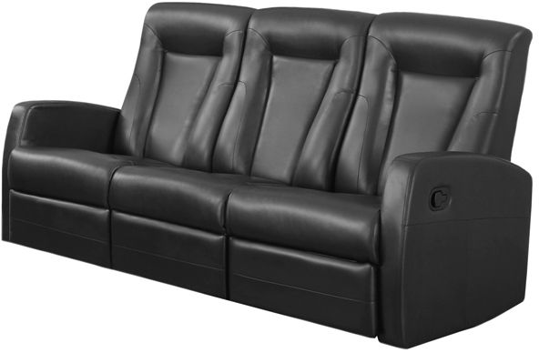Monarch Specialties I 82BK 3 Black Bonded Leather Reclining Sofa; Left And  Right Facing Seats Recline For Added Relaxation; Upholstered In Bonded  Leather; ...