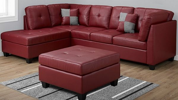 Awesome Monarch Specialties I 8375Rd Red Bonded Leather Sectional Evergreenethics Interior Chair Design Evergreenethicsorg