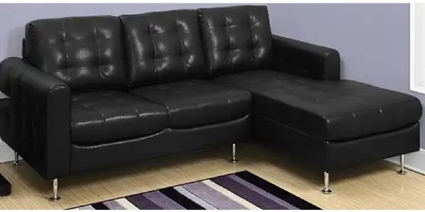 Monarch Specialties I 8380BK Black Bonded Leather Sofa Lounger; Includes A  Chaise Seat As Part Of A 3 Seater Sofa; Upholstered In Supple Yet Durable  Leather ...