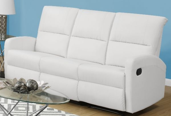 Monarch Specialties I 84WH 3 White Bonded Leather Reclining Sofa; Left And  Right Facing Seats Recline For Added Relaxation; Upholstered In Bonded  Leather; ...