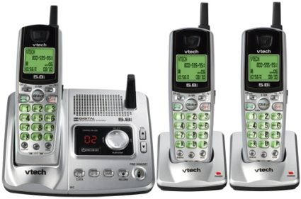 Vtech IA5878  Three Handset cordless Phone Systemm with Digital Answering Device & Caller ID, 5.8 GHz / 900 MHz Transmission Band, 30-channel Auto Scanning, Keypad Dialer Type, Handset Dialer Location, Pulse, tone Dialing Modes, 20 names & numbers Phone Directory Capacity, 1 Dialed Calls Memory, 9 Speed Dial Capacity, 45 names & numbers Caller ID Memory, Digital Answering System Type, 15 min Recording Capacity (IA-5878 IA 5878)