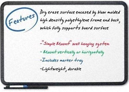 Iceberg Enterprises 37031 Dry Erase Board with Black Frame, Premium ...