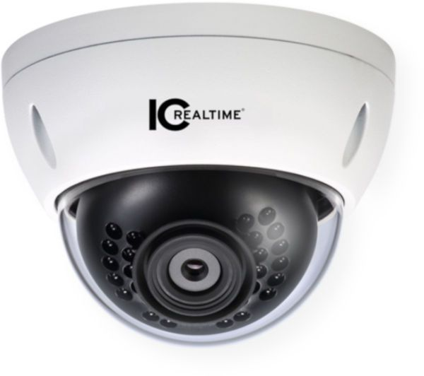 IC Realtime ICIP-D2001-IR-D-2.8 Dome IP Camera 2MP Indoor and Outdoor Small Size Vandal Dome; Fixed 2.8mm lens (120 degrees); Featuring the latest generation of 1/2.7