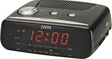 jwin jl206blk digital alarm clock with am fm radio 9 minute snooze function. Black Bedroom Furniture Sets. Home Design Ideas