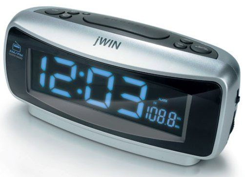 jwin jl 334 am fm alarm clock radio with splendid jumbo bright blue negative lcd display dual. Black Bedroom Furniture Sets. Home Design Ideas
