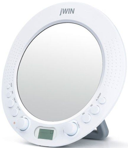 jwin jx m58 splash proof am fm radio with circular mirror on the front self contained for. Black Bedroom Furniture Sets. Home Design Ideas