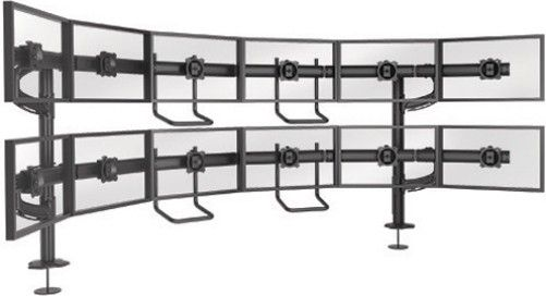 Chief K4G620B Kontour K4 6x2 Grommet-Mounted Array, VESA 75 x 75 mm & 100 x 100 mm Mounting Pattern Compatibility - Universal Version, 12 Number of Monitors, ± 12° Tilt, Upper Row: Up to 43.6