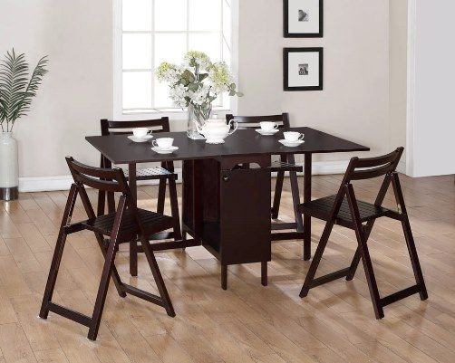 Linon k911esp espresso 5 piece space saver folding dining for Space saving dining set