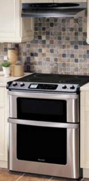 sharp kb4425lk slidein electric range with microwave drawer auto drawer opening true european convection cooking u0026 glass lcd touch controls