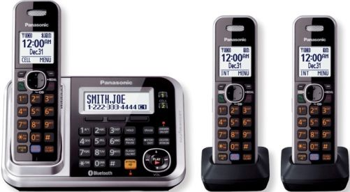 Panasonic KX-TG7873S Link2Cell Bluetooth Cellular Convergence Solution with 3 Handsets, Black, Large 1.8