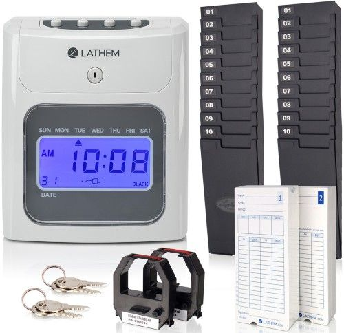 Lathem 400E-KIT Top-Feed 400E Time Clock Bundle; Prints month, date, day of the week, and the time on every punch; Time format can be specified as AM/PM or 24 hour format; Auto top-feed row alignment and print activation for simple one-hand operation; Minutes can be displayed as standard minutes or as hundredths of an hour; UPC 092447002655 (LATHEM400EKIT 400EKIT 400E KIT)