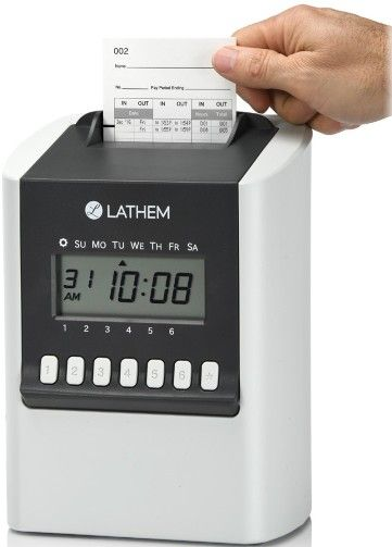 Lathem 700E Simple Calculating Electronic Time Clock; Fully automatic time clock for up to 100 employees; DualMode feature provides Calculating or Non-Calculating operation; Display and print 1-12 AM/PM or 24 Hour format; Print time in regular minutes (00-59) or hundredths of an hour (.00-.98); Minutes can be displayed in 60-minutes/hour format or as hundredths of an hour; UPC 092447002563 (LATHEM700E LATHEM 700E)