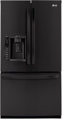 lg black french door refrigerator. lg lfx25976sb three-door french door refrigerator, smooth black, 24.7 cu.ft. total capacity, slim spaceplus ice system and bottom freezer, tall \u0026 water lg black refrigerator b