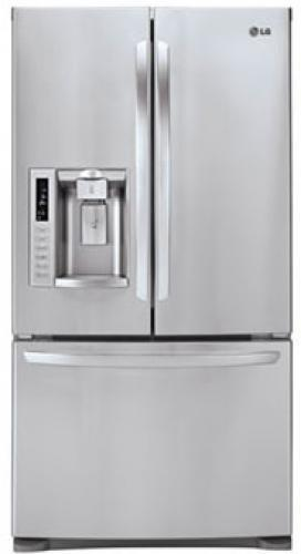 LG LFX28979ST Ultra-Large Capacity 3 Door French Door Refrigerator with Dual Ice Maker; Ultra-Large Capacity (28 cu. ft.); Most Shelf Space; Helps Keep Your Food Fresher, Longer; 10 Year Manufacturer's Limited Warranty on Linear Compressor; Dual Ice Makers; Tall Ice & Water Dispensing System; Door Type: French 3-Door; Freezer Type: Pull Drawer; Size (W x H x D): 35 3/4