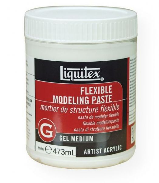 Liquitex 8916 Flexible Modeling Paste 16 oz; 100% polymer emulsion that dries more slowly than other modeling pastes to a hard yet flexible surface; Used to build three-dimensional forms and heavy textures on supports that may be subject to flexing or movement; Adheres to any non-oily, absorbent surface; When mixed with acrylic colors will act as a weak tinting white, while increasing thickness and rigidity; UPC 094376945843 (LIQUITEX8916 LIQUITEX-8916 MODELING PAINTING MEDIUM)