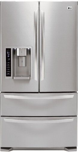 LG LMX25984ST Four Door French Door Refrigerator With Ice And Water  Dispenser, Stainless Steel, 24.7 Cu.ft. Capacity, Double Freezer Drawers,  ...