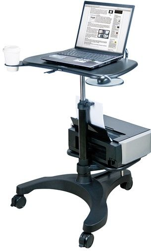 aidata lpd009p b mobile notebook desk with printer shelf. Black Bedroom Furniture Sets. Home Design Ideas