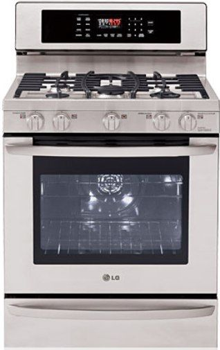 LG LRG3097ST Large Capacity Premium Free Standing Gas Range, UltraHeat 19000 BTU Burner, Convection Oven, Flat Broil Heater, Brilliant Blue Interior, 5 High Performance Sealed Burners, WideView Window, Warming Drawer, Electronic Clock & Timer, Control Lock Function, Audible Preheat Signal (LRG3097ST LRG-3097ST LRG3097-ST LRG-3097-ST LRG 3097ST LRG3097 ST)