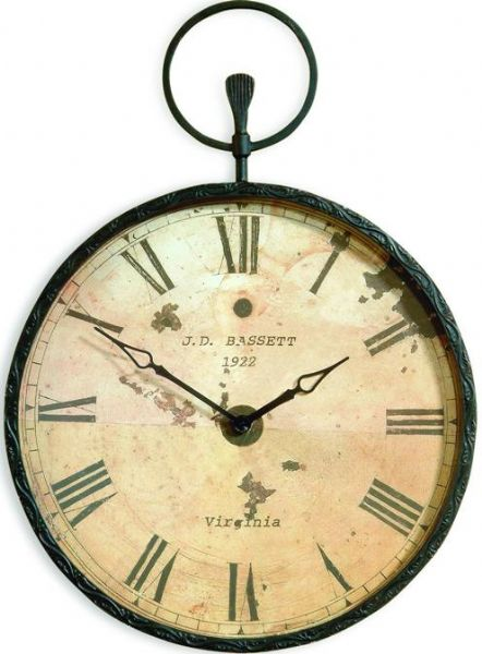 Bassett Mirror M2310EC Papa's Pocket Watch, Large round wall clock, Forged Bronze, 24