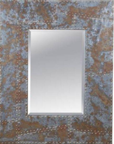 bassett mirror m3400bec steam punk newton wall mirror rustic metalnailhead finish rectangular frame shape framed mirror material decor room