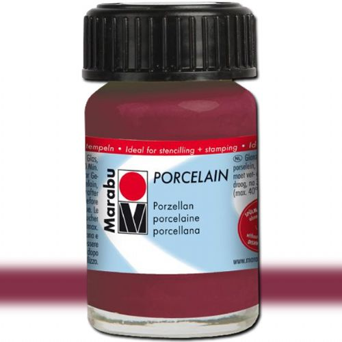 Marabu 11059039223 Porcelain Paint, 15 ml, Blackberry; Decked out in colors! Porcelain paints without firing; Dishwasher-safe without firing; Just paint, leave to dry 3 days, done; Versatile use: painting, stamping, stenciling; Water-based, odorless and non-fading; EAN 4007751658616 (MARABU11059039223 MARABU 11059039223 PORCELAIN PAIN 15ML BLACKBERRY)