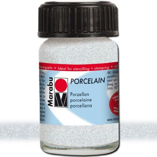 Marabu 11059039582 Porcelain Paint, 15 ml, Glitter Silver; Decked out in colors! Porcelain paints without firing; Dishwasher-safe without firing; Just paint, leave to dry 3 days, done; Versatile use: painting, stamping, stenciling; Water-based, odorless and non-fading; EAN 4007751658746 (MARABU11059039582 MARABU 11059039582 PORCELAIN PAIN 15ML GLITTER SILVER)