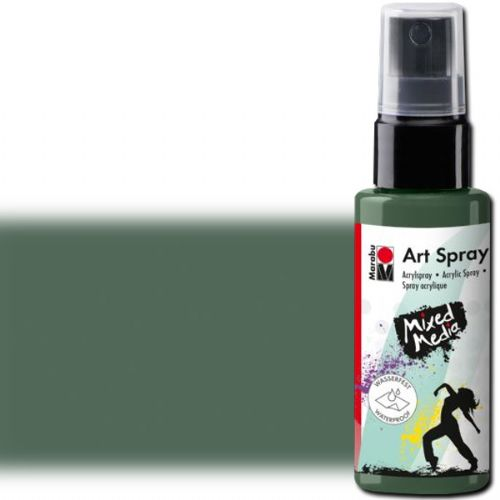 Marabu 12099005057 Art Spray, 50ml, Gentian; Brightly colored water-based acrylic spray; Ideal for stenciling, for backgrounds and as a carrier for mixed media designs on porous surfaces such as canvas, paper, wood; The vivid colors are intermixable, water thinnable, quick drying, lightfast and waterproof; Shake well before use; Gentian; 50 ml; Dimensions 4.72