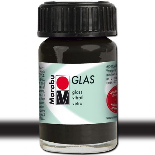 Marabu 13069039073 Glas Paint, 15 ml, Black; A luminous interplay of colors on glass; Vivid, transparent colors; Good flow for even application; Dishwasher-safe without firing; Simple paint, leave to dry, finished; Water-based, odorless and non-fading; Black; 15 ml; Dimensions 1.65