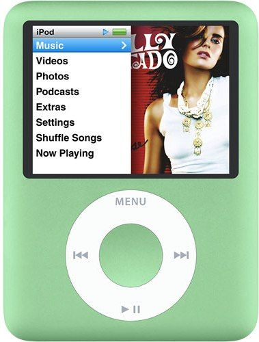 Apple MB253LL/A Remanufactured iPod Nano 8GB 3rd Generation, Green, Up to 2,000 Songs, Up to 7,000 Photos, Up to 8 hours Video, Color display 2-inch (diagonal) 320 by 240 pixels, Plays Music, movies, TV shows, videos, audiobooks, podcasts, photo slideshows, games, Headphone Out (1/8