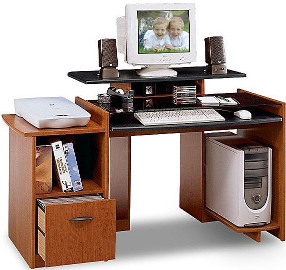 Bush Mm69500 Desk With File Visions Collection Rosewood Maple Finish Cpu Shelf Mounts On Left Or Right Side Of Knee Well Elevated Monitor Improves